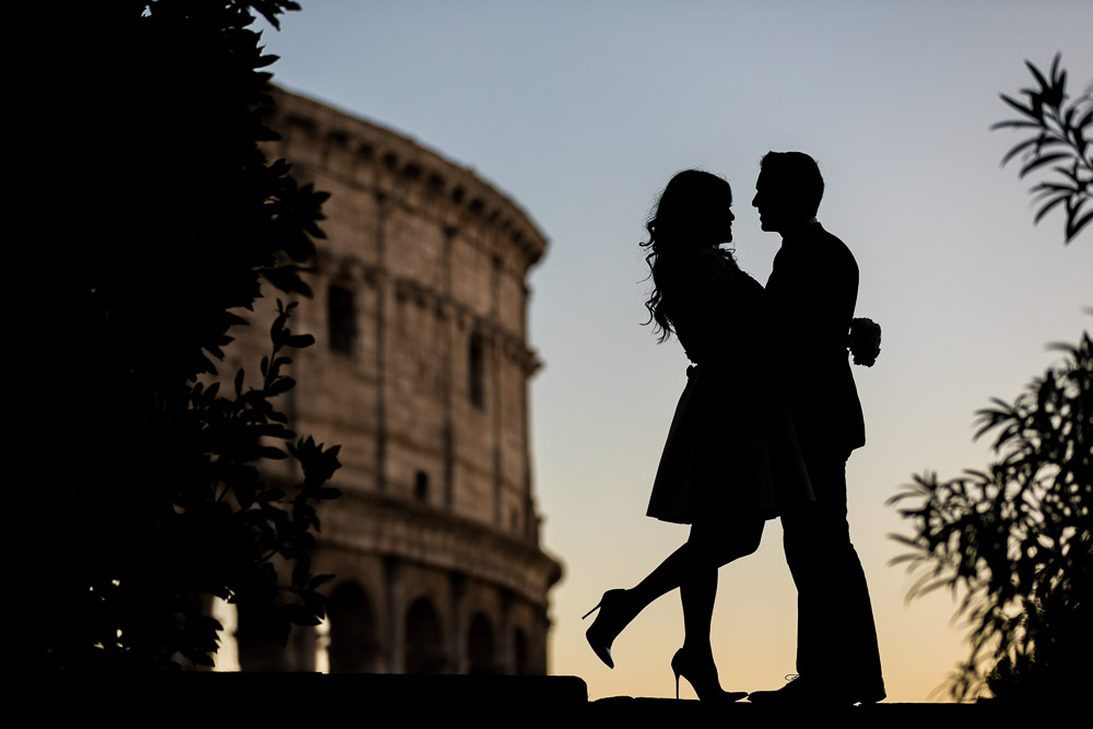 Silhouette image of a couple just married in Rome Italy