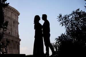 Silhouette image at the roman Coliseum in Rome Italy