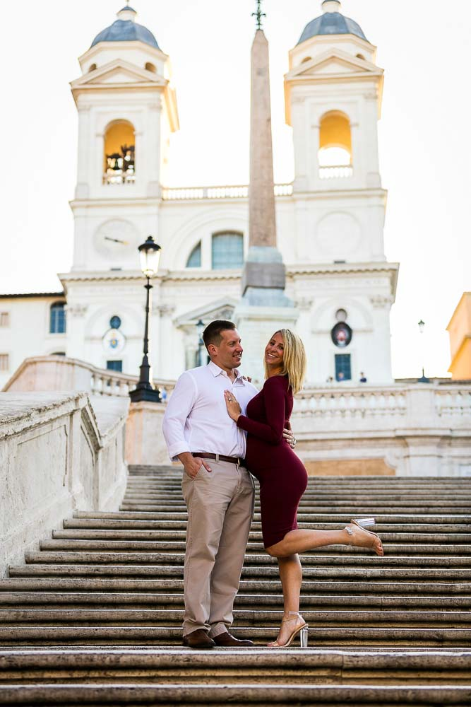Posing on the Spanish steps during a Rome Pregnancy Photography session