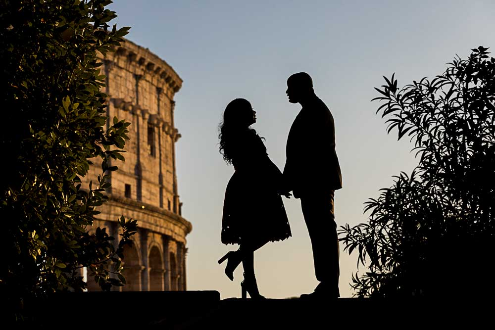 Posing together during a couple photo session in Rome