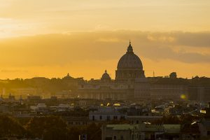 The city of Rome photographed at sunset just before dusk at the golden hour