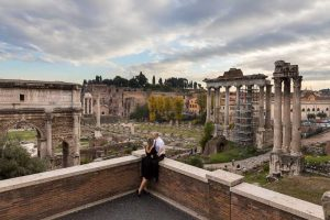 In love in Rome by the ancient forum