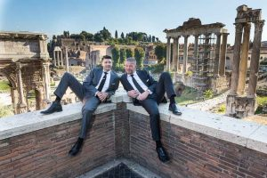 Sitting down and laid back image of a couple taken at the Roman Forum
