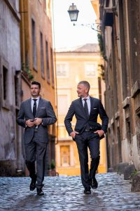 Walking in the streets of Rome Italy during a couple photo shoot