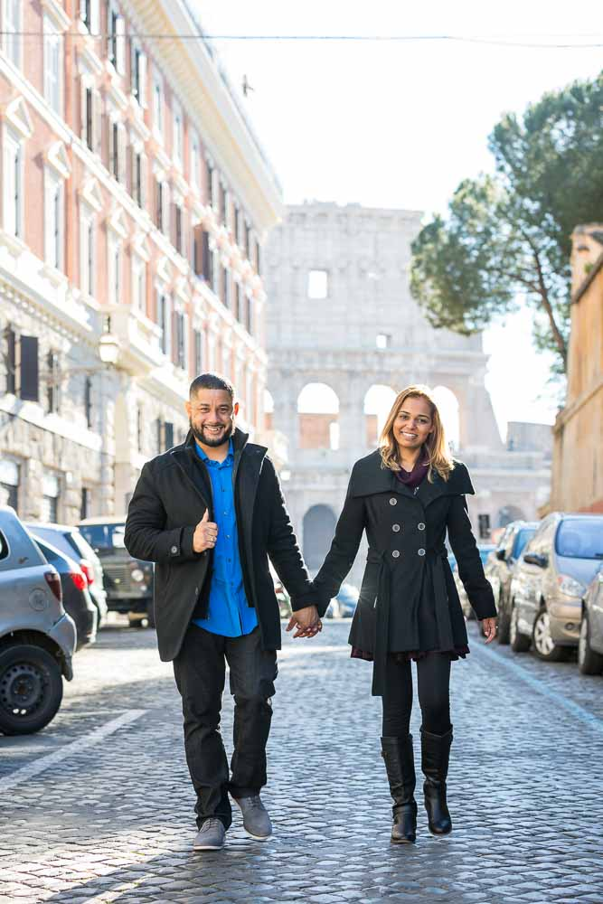 Walking together in Rome on cobble stone streets