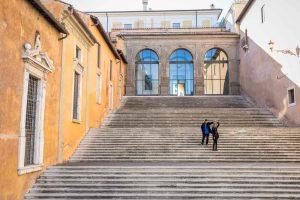 Scenic staircase couple together in Piazza del Campidoglio