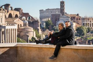 Couple portrait before the ancient roman forum in Rome Italy