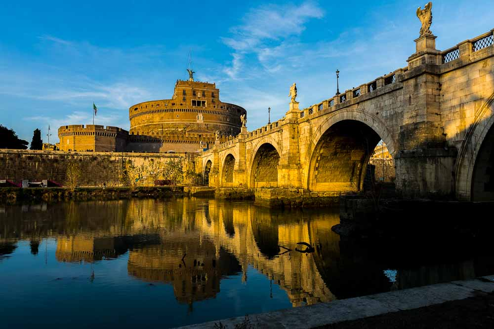 Castel Sant'Angelo bridge in Rome at sunset. the closet location in walking distance from the St Peter's square