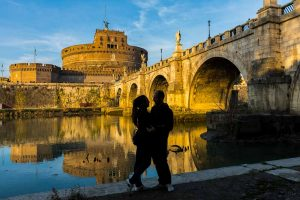 Final picture portrait. Silhouette image by the Tiber river