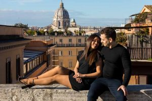 Engaged in Rome Italy