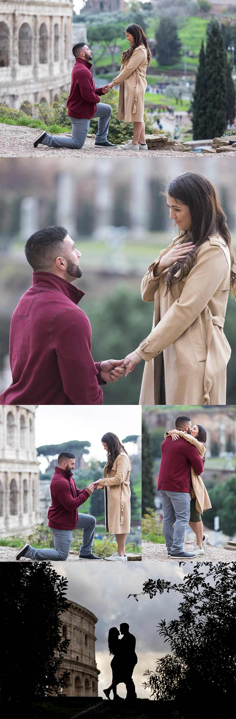 Surprise wedding proposal photographed by the Andrea Matone photography studio at the Roman Colosseum. Rome Colosseum Proposal