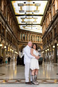 Couple portrait session taken inside Galleria Alberto Sordi