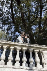Posed portrait image of being together in Parco del Pincio terrace view