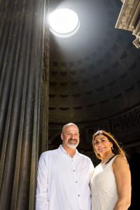 Standing under the light from the oculus in the Roman Pantheon