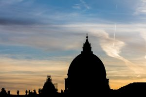 Saint Peter's dome silhouette image at sunset