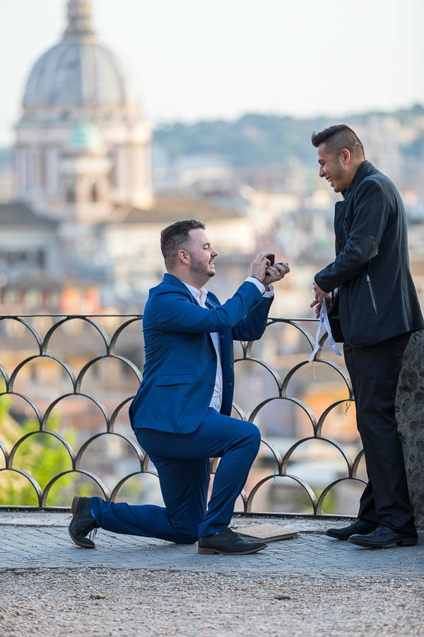 Gay couple wedding proposal in Rome Italy