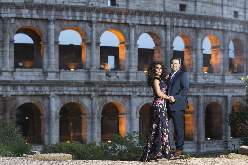 Night time photo shoot at the roman colosseum