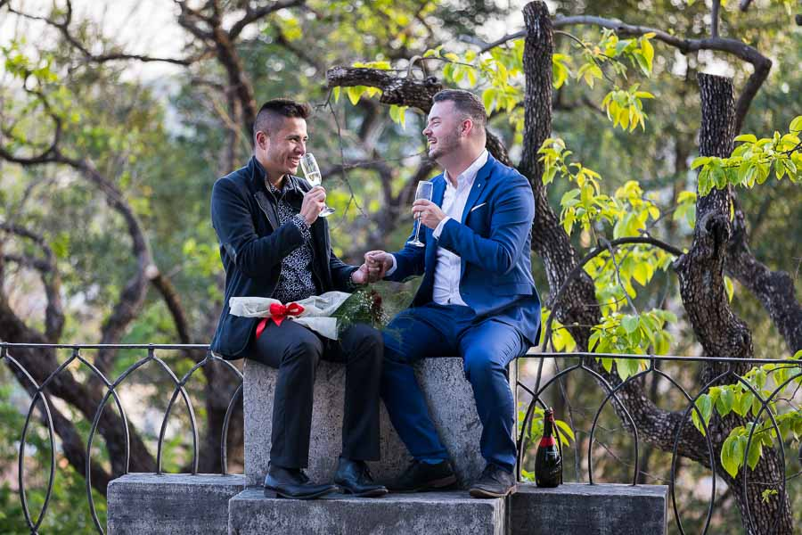 Celebrating the engagement with Italian prosecco wine