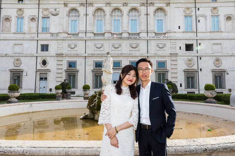 Couple portrait taken in front of the Galleria Borghese building