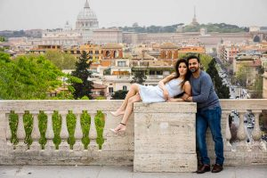 Anniversary photoshoot celebrated on the terrace overlooking the beautiful Rome skyline
