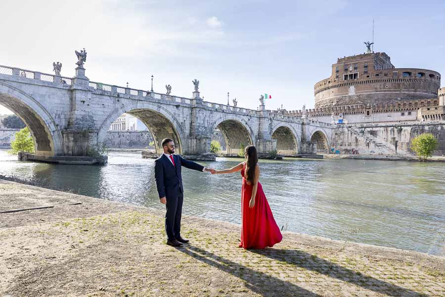 Shooting pictures by the Tiber river bank in Rome
