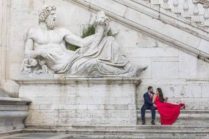 Large marble statue portrait. Pre wedding photo session