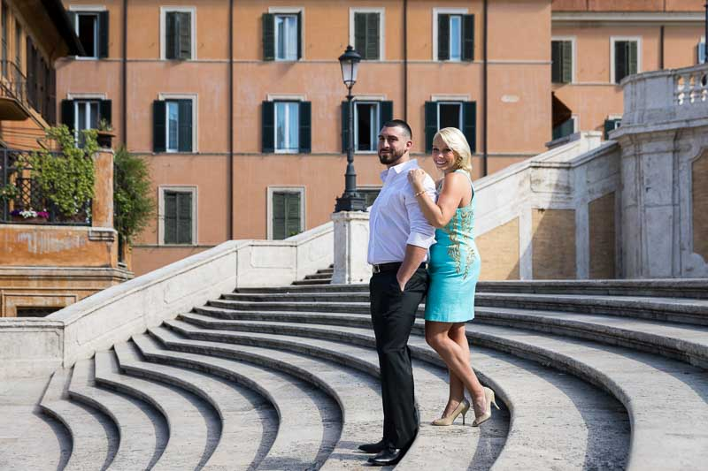 Spanish steps portrait picture engagement photo shoot in Rome Italy