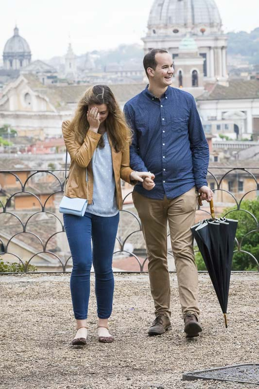 Couple happily walking away together