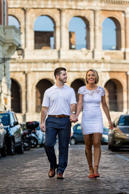 Walking in a roman alleyway