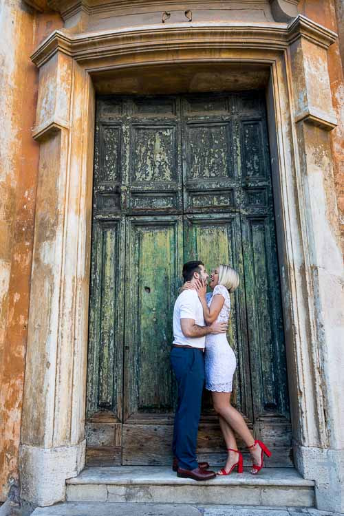 Just engaged photo in front of an ancient doorway