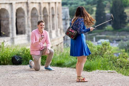 Unexpected surprise proposal while taking a picture together