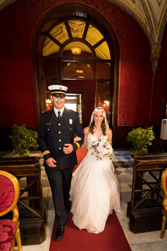 Bride entering town hall