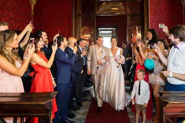 The bride making her entrance into Campidoglio Town Hall red room to get married