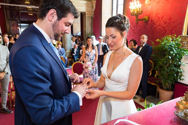The matrimonial wedding ring exchange during a civil ceremony