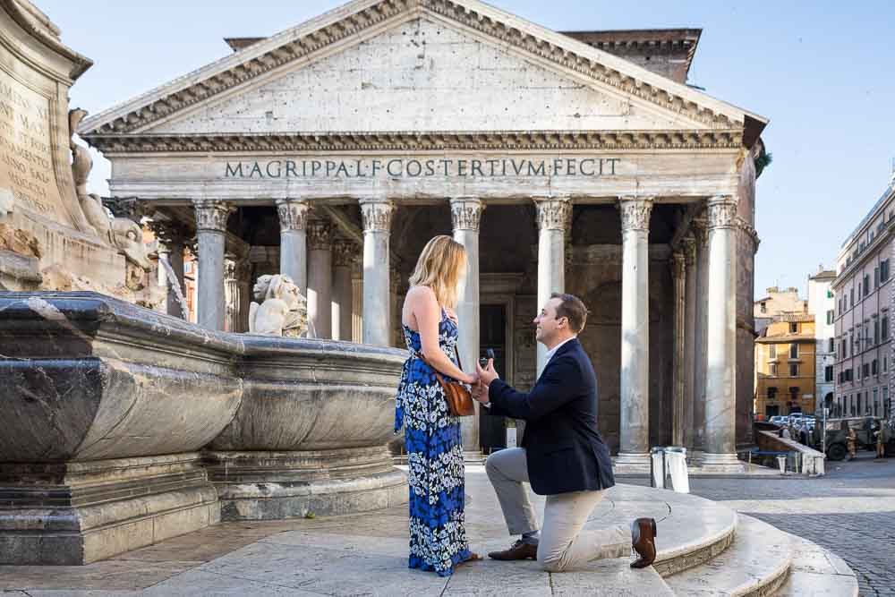 Surprise wedding marriage pantheon proposal photographed at the Roman Pantheon. Rome, Italy.