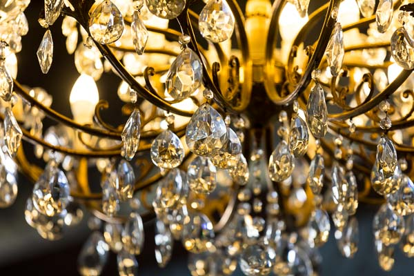 The crystal chandelier close up image