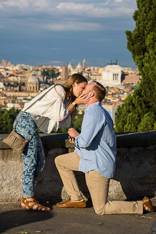Kissing just engaged in Rome Italy
