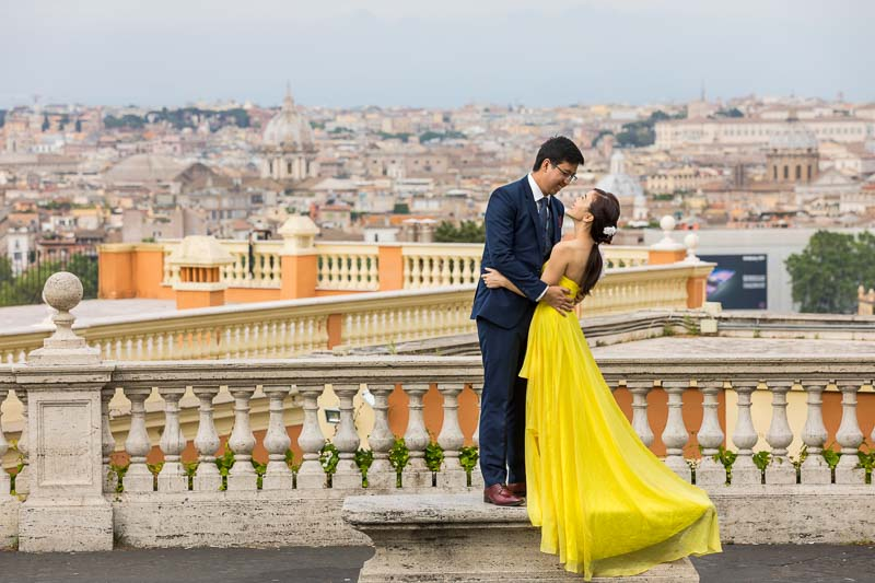Wedding honeymoon photoshoot in Rome Italy from the Janiculum hill