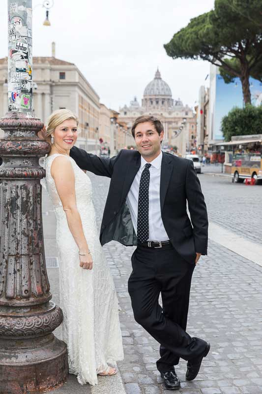 Bride and groom portrait picture in front of the Vatican