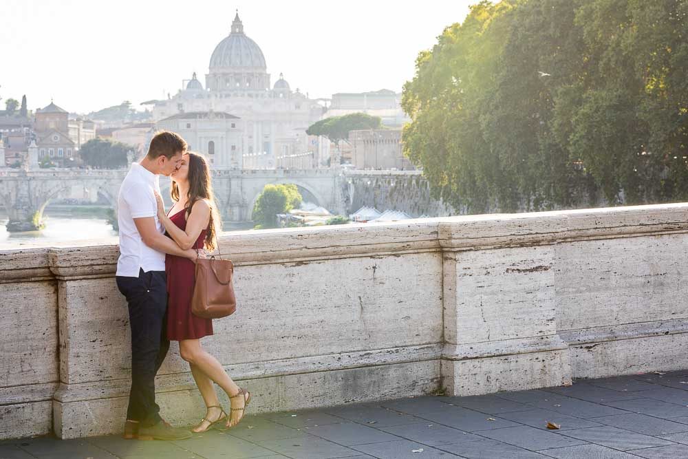 Couple in love photographed from Ponte Umberto I at sunset