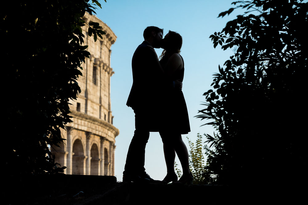 Silhouette photo of an engaged couple in Rome