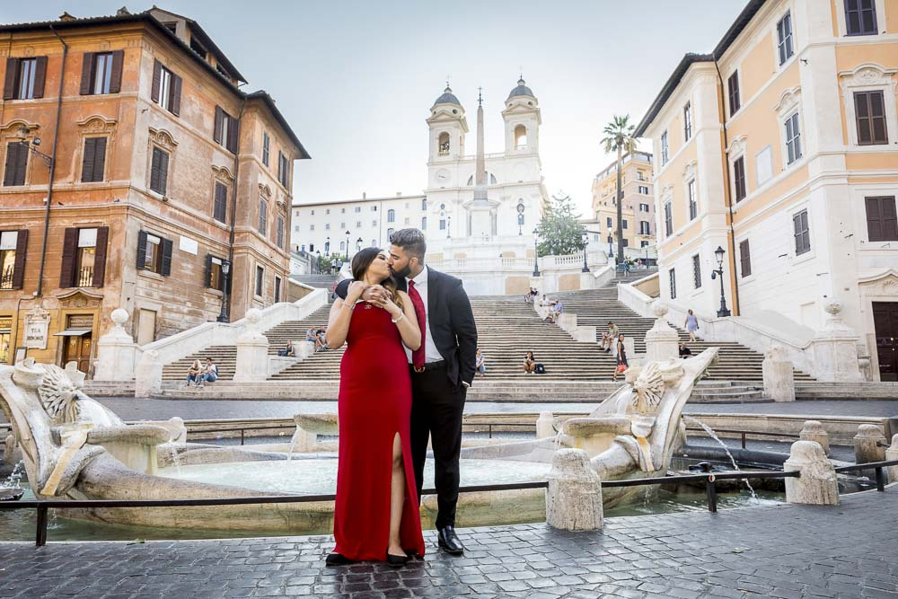 Posing close to one another during a photography session at the Spanish steps