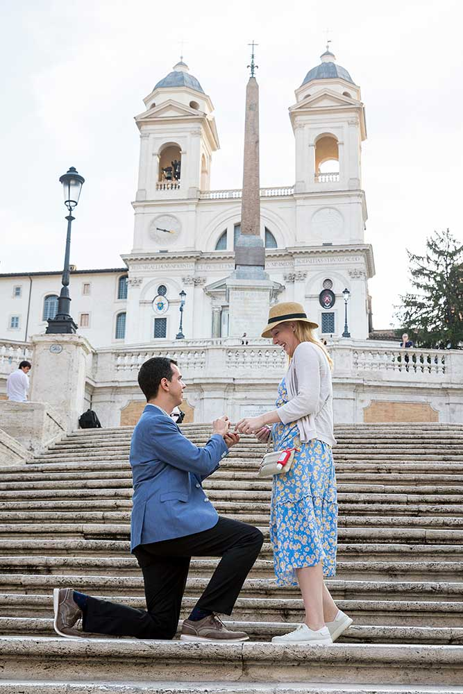 Early morning surprise wedding proposal on the Spanish steps in Rome Italy
