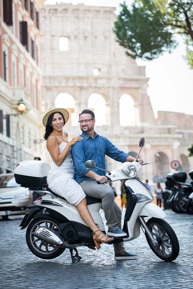 White scooter photo shoot photographed in the streets of Rome