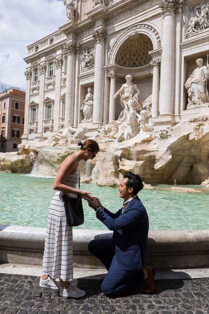 Kneel down Trevi fountain proposal