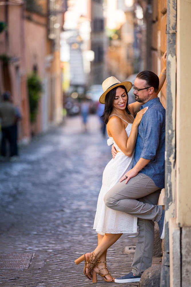 Couple hanging out in the street of Rome