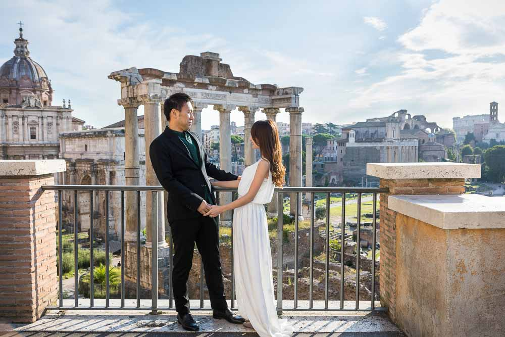Photo session from Piazza del Campidoglio with a view over the ancient roman forum