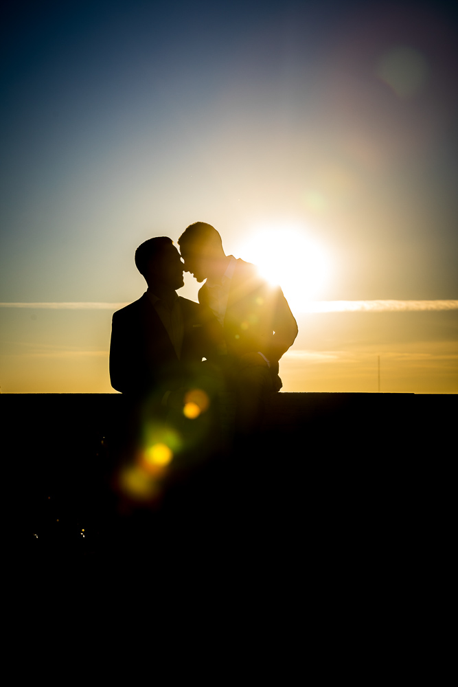 Silhouette portrait of a couple in love