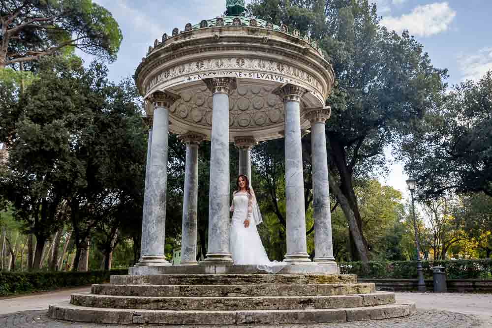 Temple of Diana Wedding Day Bridal Photography in Rome Italy