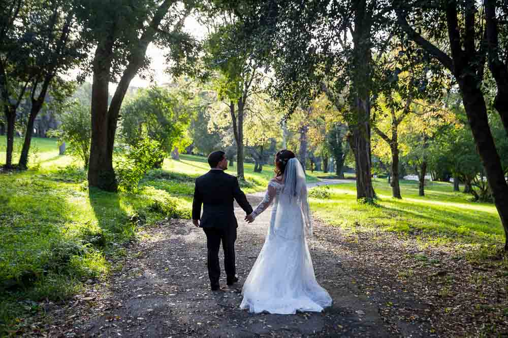 Walking together to get married in a park